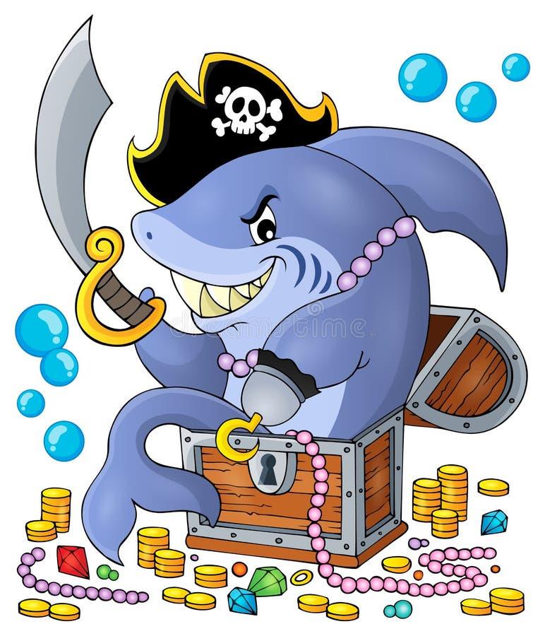 Pirate shark with treasure theme 1 stock illustration