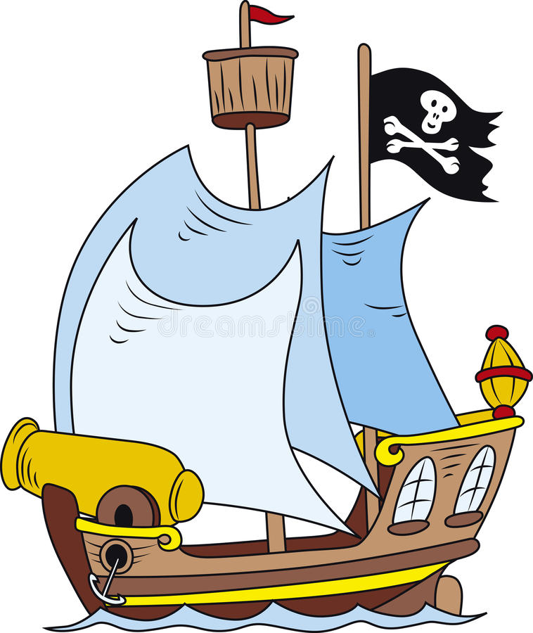 Pirate ship. Vector illustration of cartoon style pirate ship