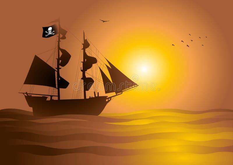 Download Pirate Ship stock vector. Image of galleon, boat, bones - 15222851