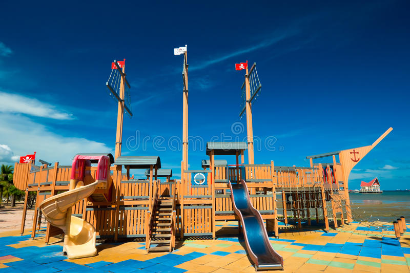 Pirate ship. In playground ,puplic park stock photos