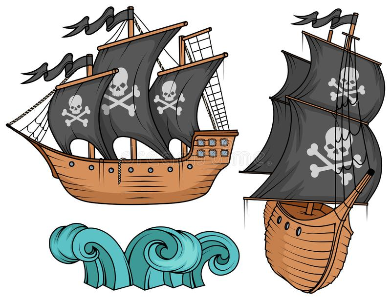 Pirate ship or boat illustration, isolated on white background, cartoon sea pirate ship, sailing ship at sea stock illustration