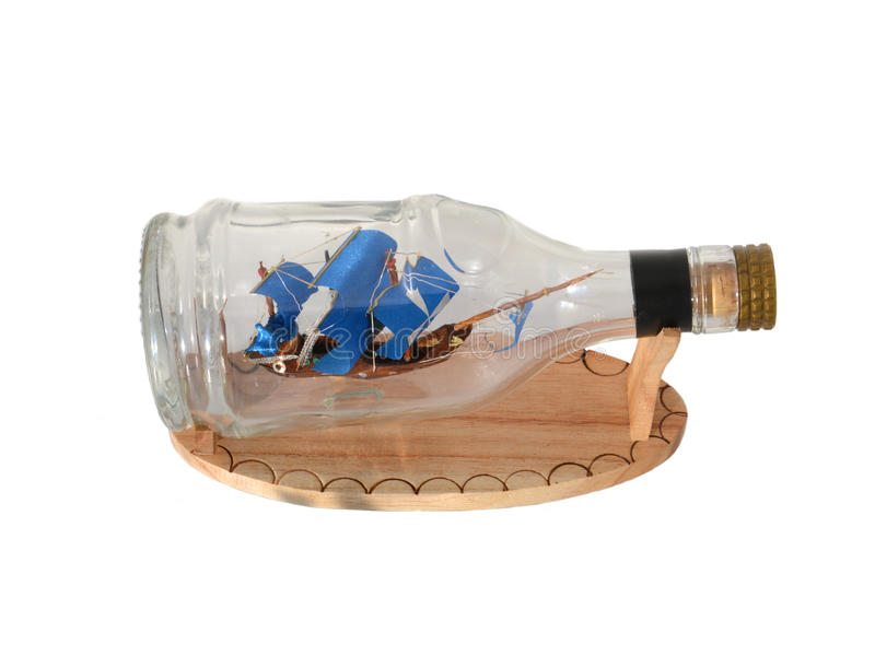 Pirate Ship In A Bottle Stock Photo