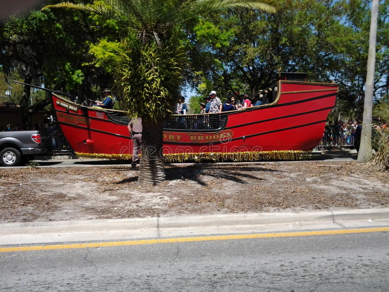 Pirate Ship at the CHASCO Festival parade. This was taken at the CHASCO Festival in Pasco County Florida. Pirates invaded the parade stock images