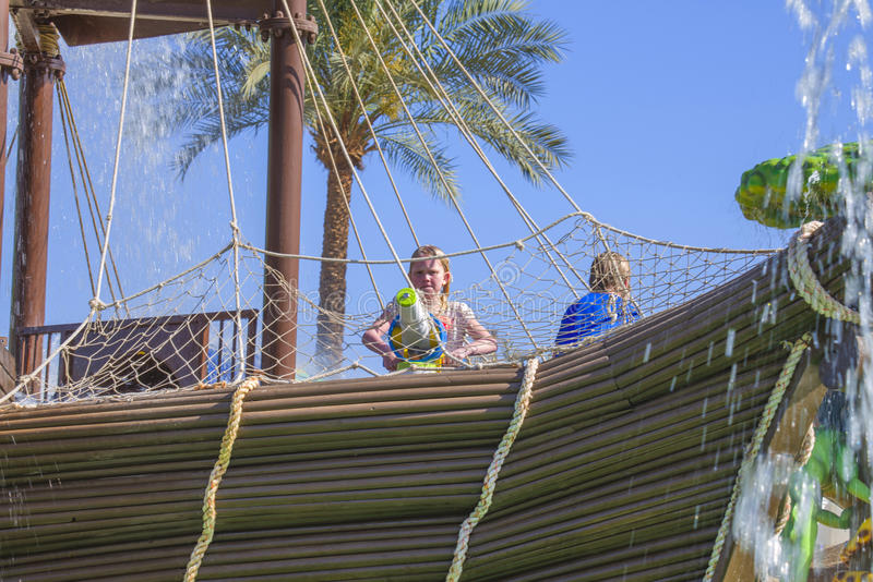 Pirate ship in cleo water park, image 4. In Cleo Aqua Park, Egypt has been built a large pirate ship where it bubbles and splashing water from all angles and royalty free stock photo