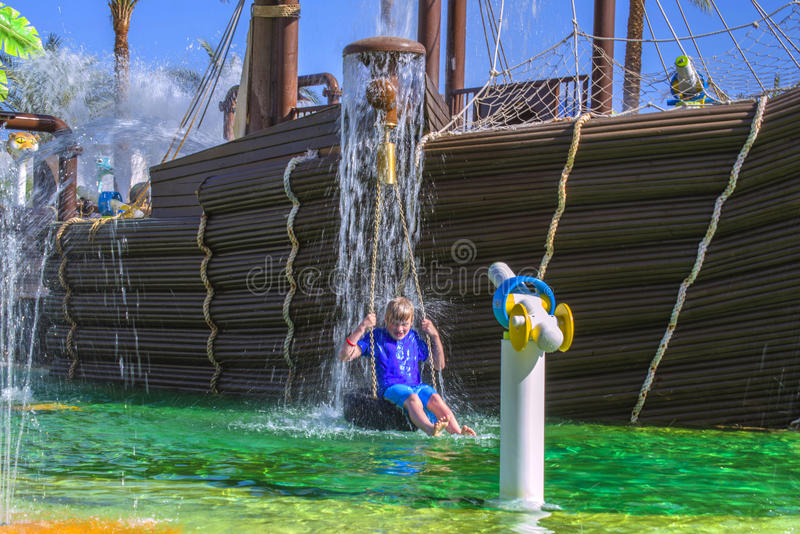 Pirate ship in cleo water park, image 7. In Cleo Aqua Park, Egypt has been built a large pirate ship where it bubbles and splashing water from all angles and royalty free stock photo