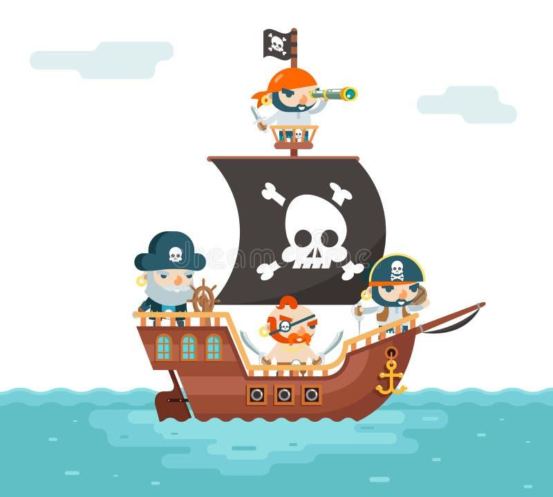 Free Pirate Ship Crew Buccaneer Filibuster Corsair Sea Dog Sailors Captain Fantasy RPG Treasure Game Character Flat Design Stock Images - 106213794