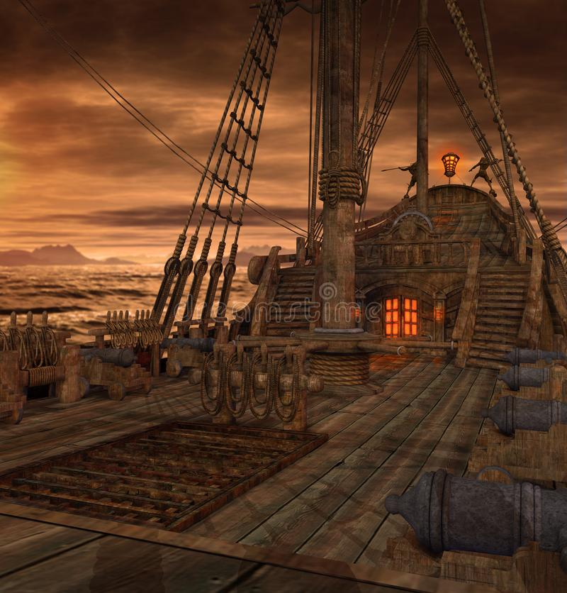 Pirate Ship Deck with Stairs and Cannons. Pirate ship deck with stairs to the galley and door to the captains cabin, 3d render royalty free stock photo