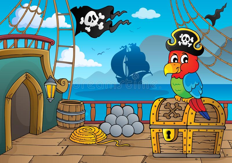 Pirate ship deck thematics 2. Eps10 vector illustration stock illustration