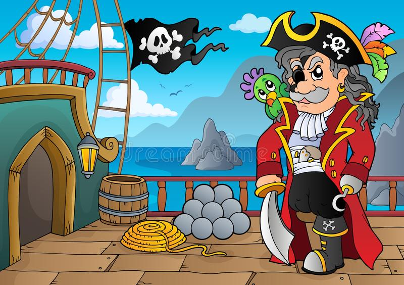 Pirate ship deck topic 5 royalty free illustration