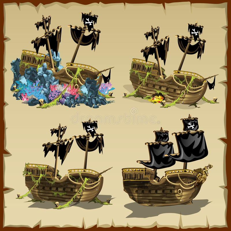 Pirate ship at different stages of desolation. Four vector cartoon icons royalty free illustration