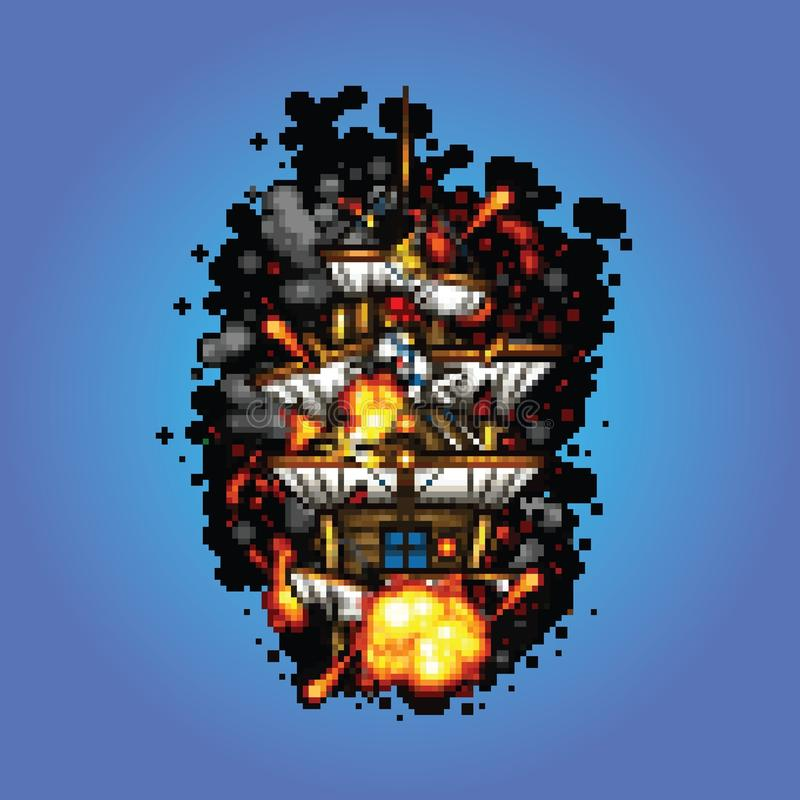 Pirate Ship On Fire Pixel Art Style Illustration Stock Vector Illustration Of Ship Explosion 55868803
