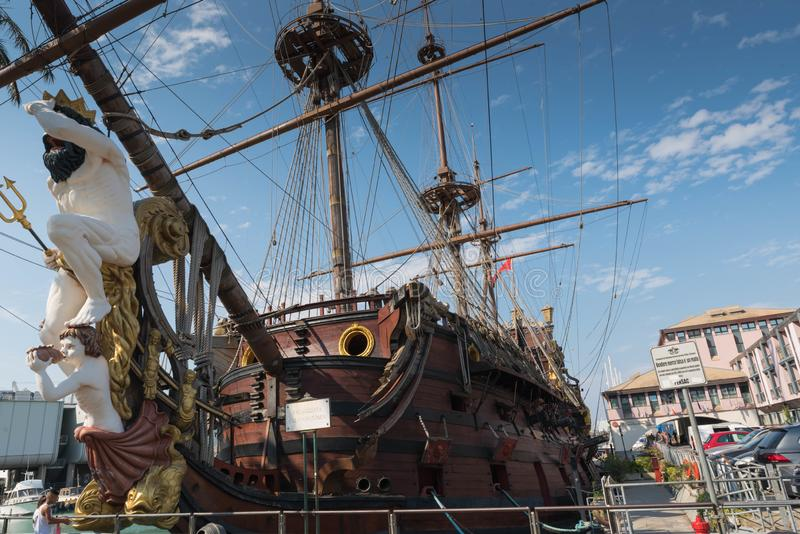 Pirate Ship, Genoa, Italy. Genova is a port and communal city in northern Italy, the capital of Liguria and the main port of serving the Corsica and Sardinia royalty free stock photography