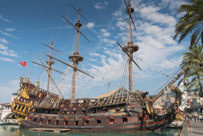 Pirate Ship, Genoa, Italy. Genova is a port and communal city in northern Italy, the capital of Liguria and the main port of serving the Corsica and Sardinia royalty free stock photo