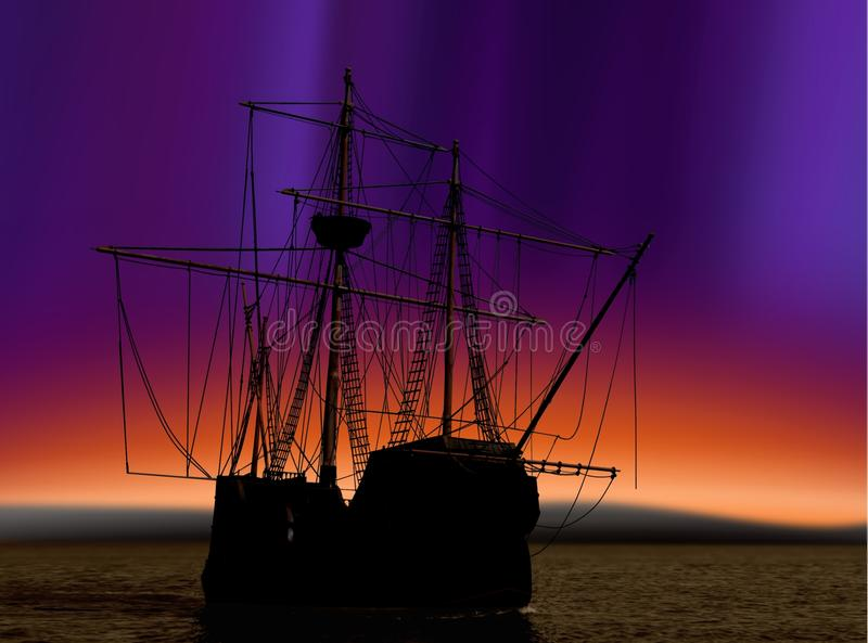 Pirate ship and northern lights