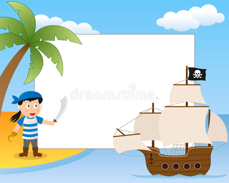 Pirate and Ship Photo Frame. Photo frame, post card or page for your scrapbook. Subject: a cartoon pirate boy on a island with a sailing boat. Eps file available stock illustration