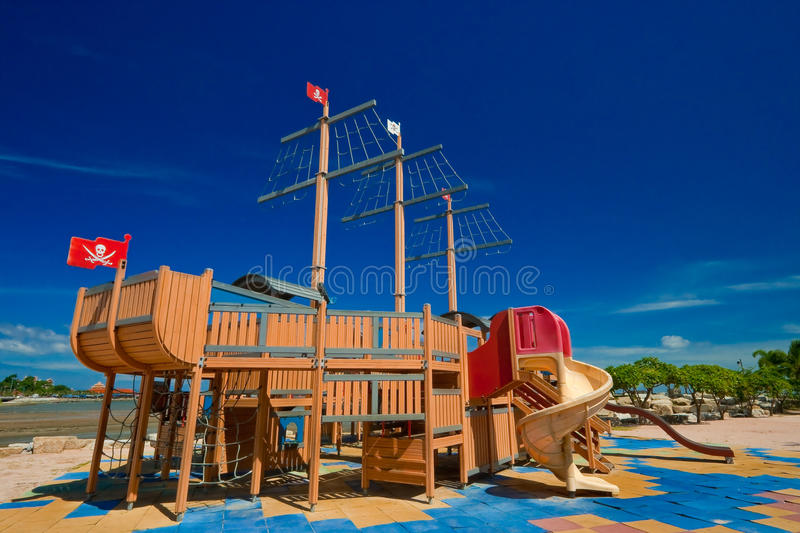 Pirate ship in playground. Plaything in park royalty free stock image