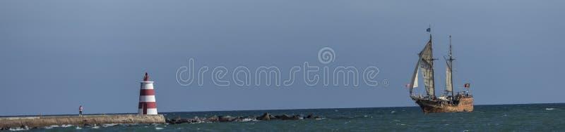 Pirate ship sailing on the atlantic ocean royalty free stock photo