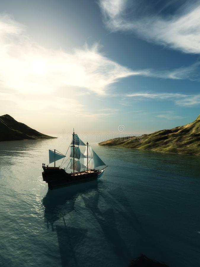 The pirate ship. Sailing old ship in the ocean royalty free stock image