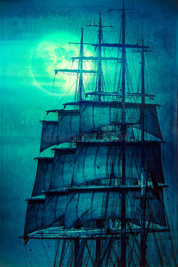 Pirate ship sails and the Moon stock illustration