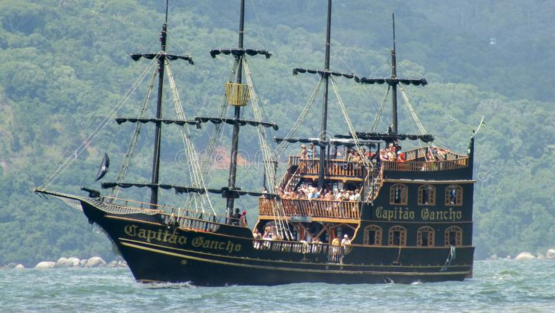 Pirate ship to go on the beaches of Florianopolis, Brazil stock image