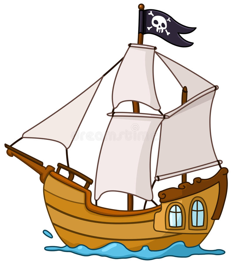 Pirate ship royalty free illustration