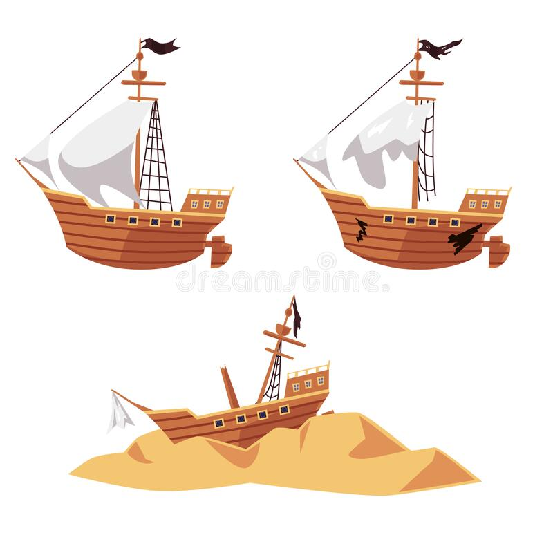 Free Pirate Ship Wreck Set - New And Old Boat With Black Flag, Shipwreck Parts Royalty Free Stock Photos - 192424568