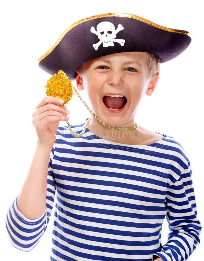 Pirate shouting. Close up portrait of angry pirate shouting. Isolated on white background royalty free stock image