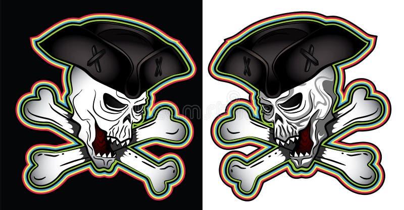 Pirate shouting evil skull with hat illustration royalty free illustration