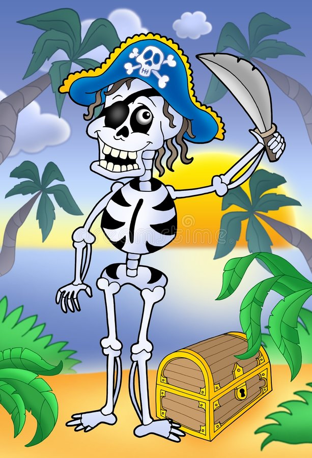 Pirate skeleton with sabre and treasure chest royalty free illustration