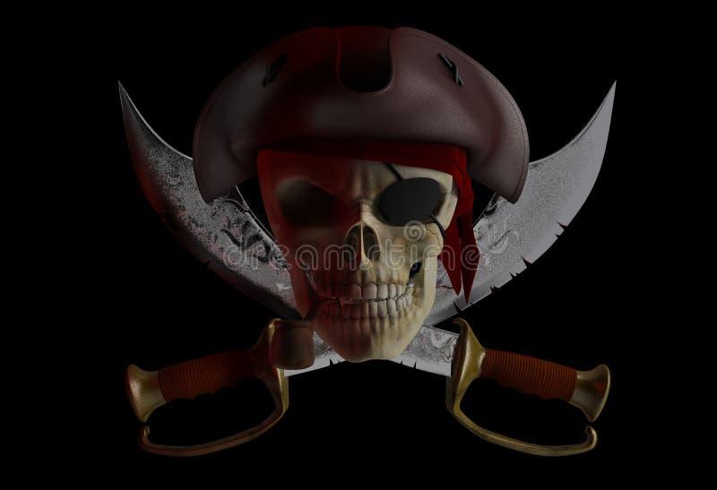 Pirate skull vector illustration
