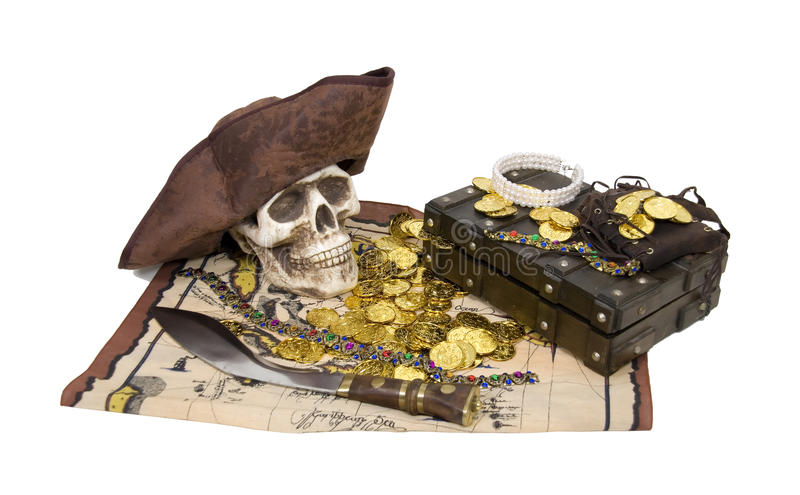 Pirate skull and booty stock photo