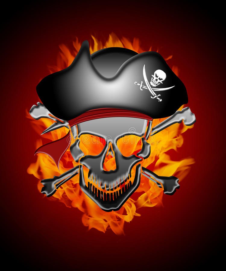 Pirate Skull Captain with Flames Background vector illustration