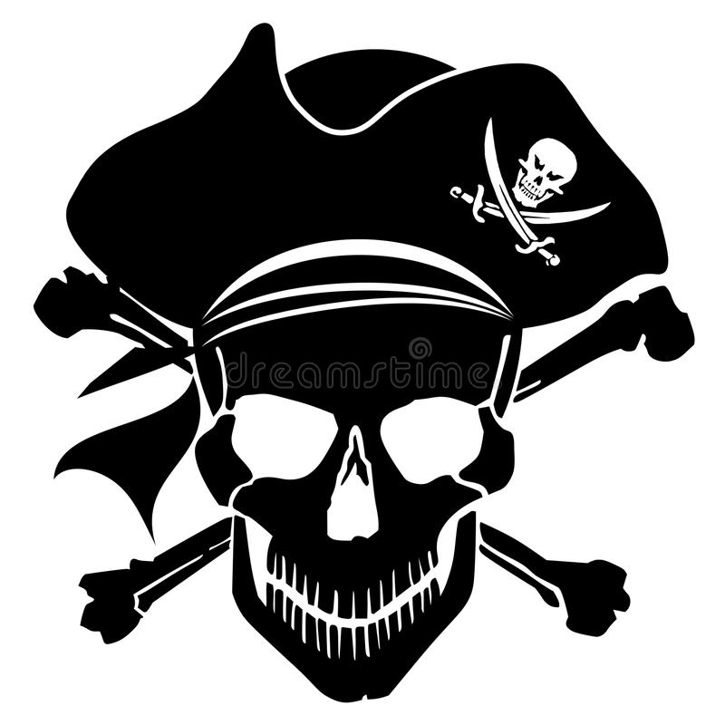 Pirate Skull Captain with Hat and Cross Bones royalty free illustration