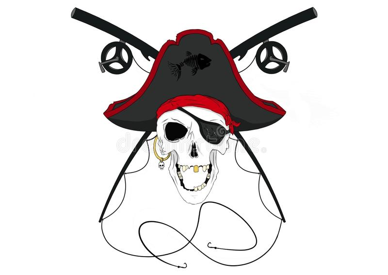 Pirate Skull with Crossed Fishing Poles Pre-Colored royalty free illustration