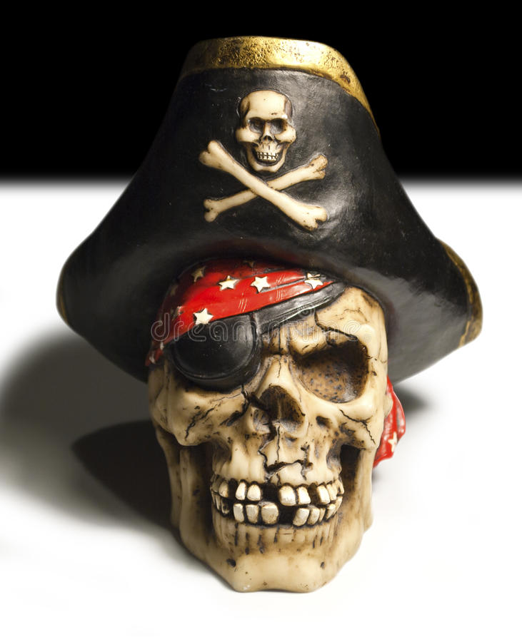 Pirate skull. With an eye-patch stock image