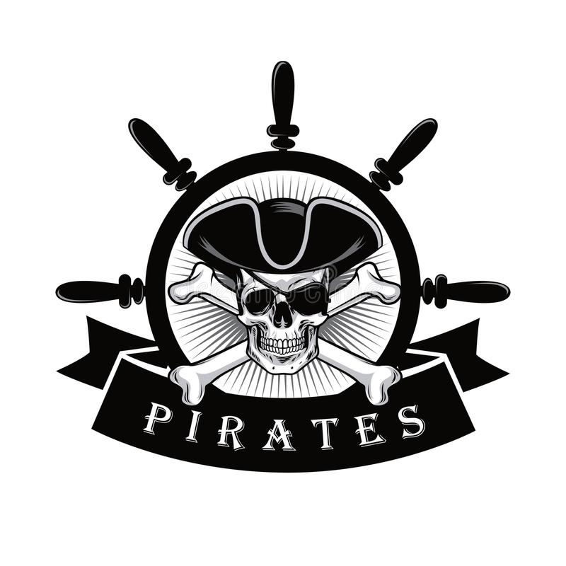Helm Design pirate skull with eyepatch and ship helm logo design vector