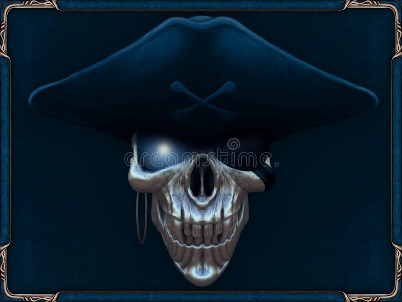 Pirate skull with glowing blue eyes royalty free illustration