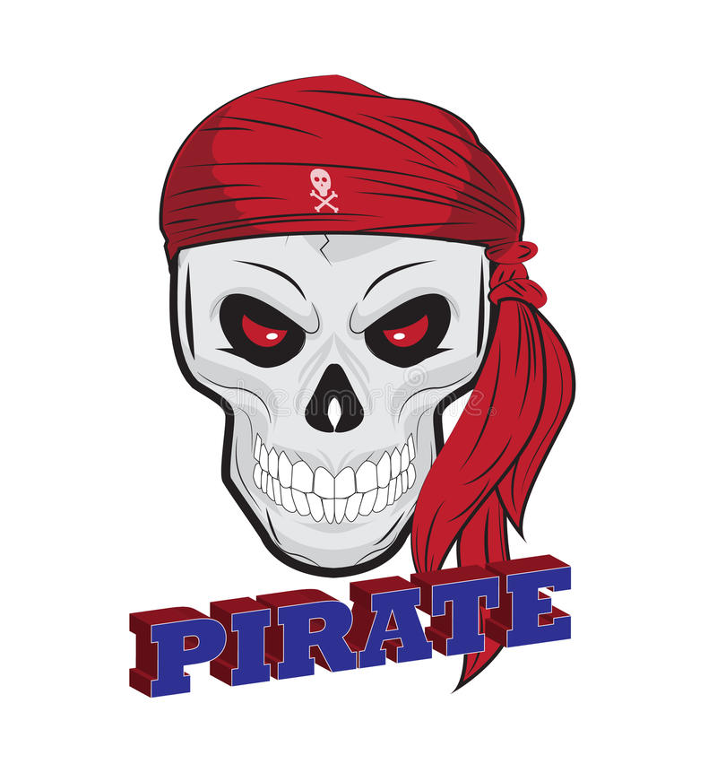 Pirate skull illustration, isolated royalty free illustration