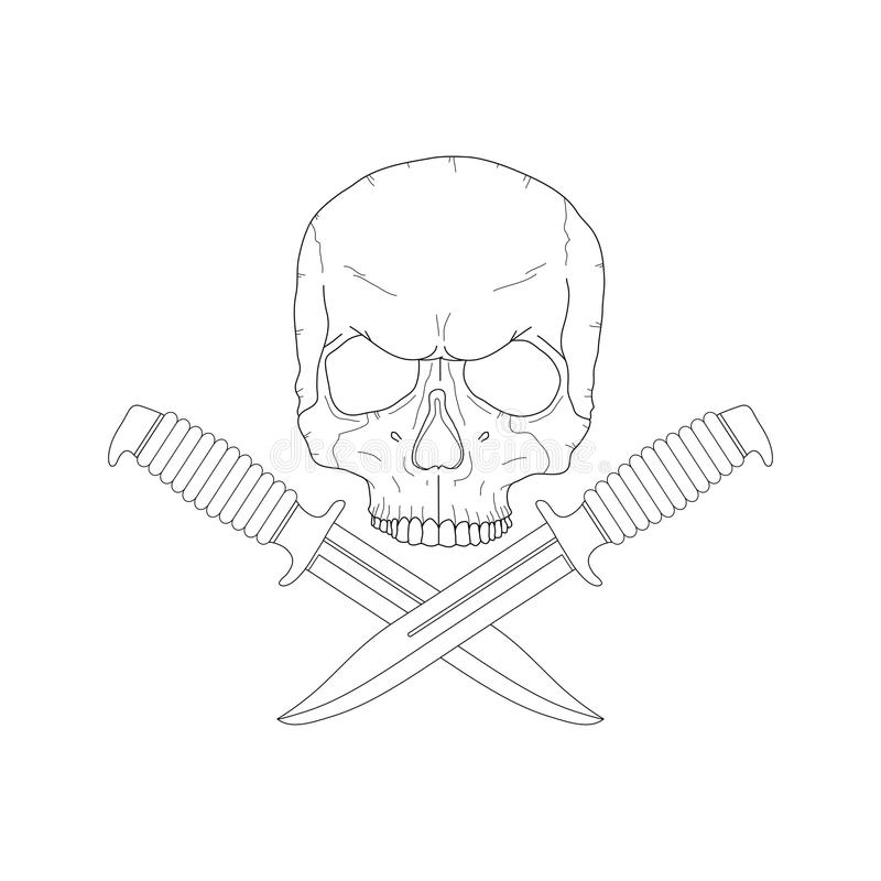 Pirate skull with a knives vector illustration