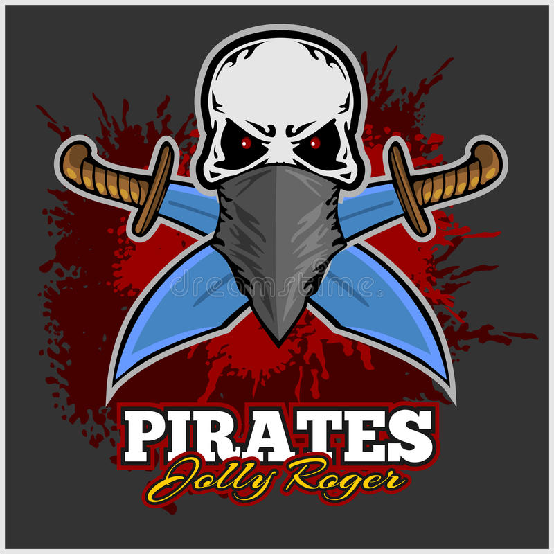 Pirate Skull in Red Headband with Cross Swords royalty free illustration