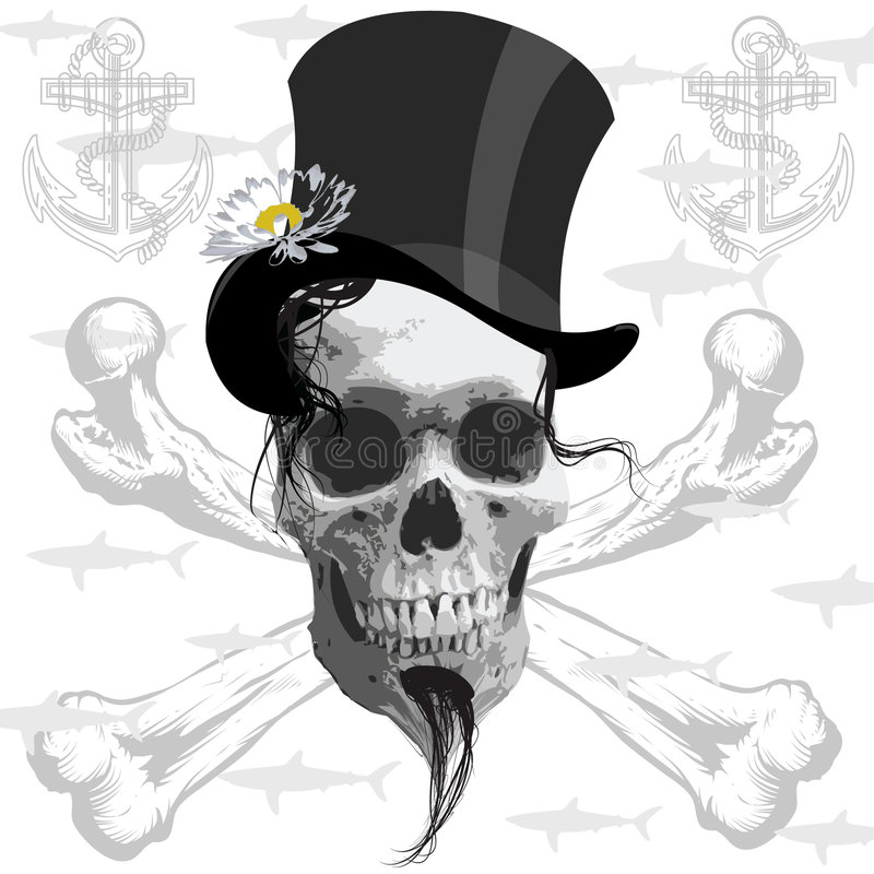 The pirate skull - and sharks royalty free illustration