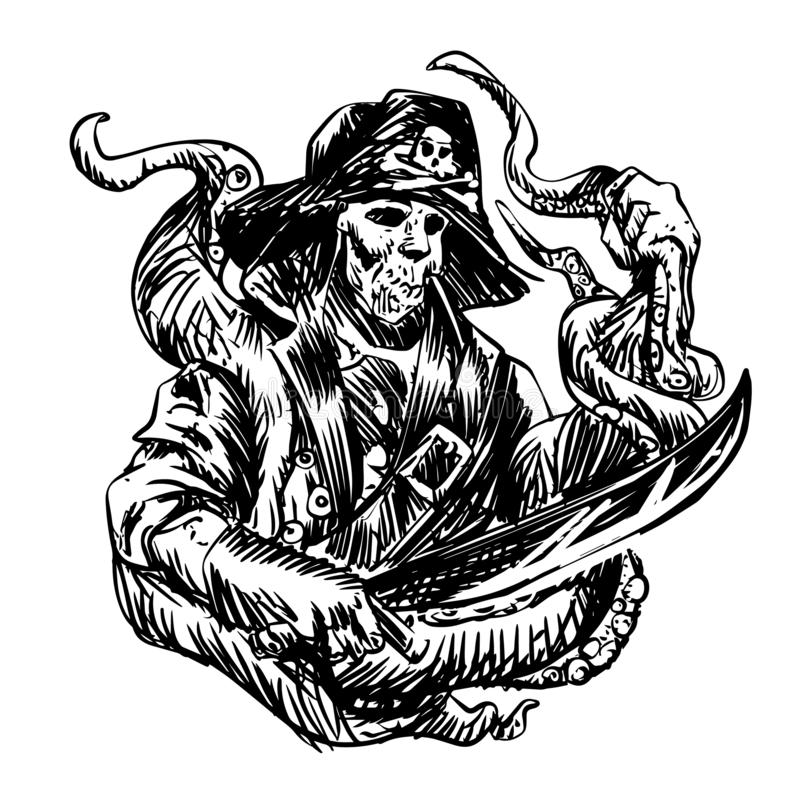 Pirate skull with tentacles of octopus vector illustration