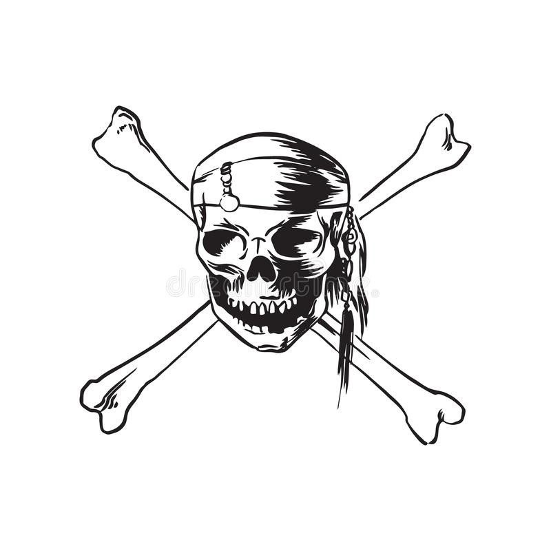 Pirate skull wearing bandana with crossbones. Hand drawn sketch illustration. Vector black ink drawing isolated on white royalty free illustration