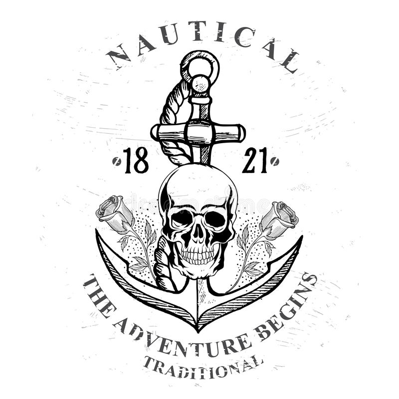 Free Pirate Skull With Anchor Design. Stock Images - 65193894