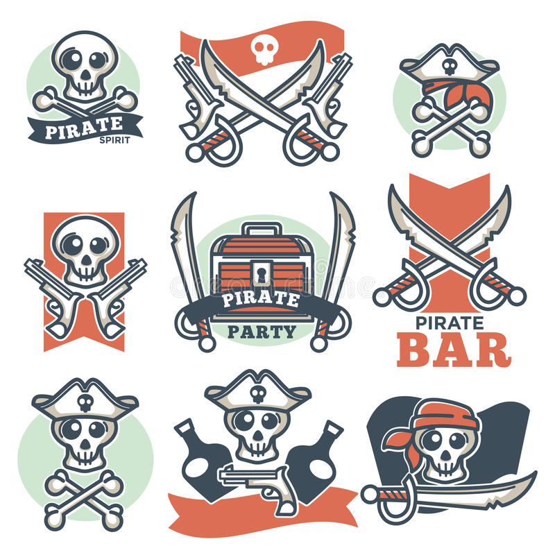 Pirate spirit logo emblems vector poster on white royalty free illustration