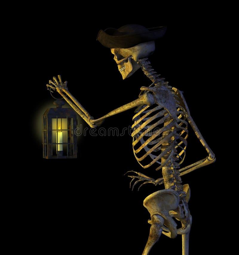 Pirate squelettique avec la lanterne illustration de vecteur
