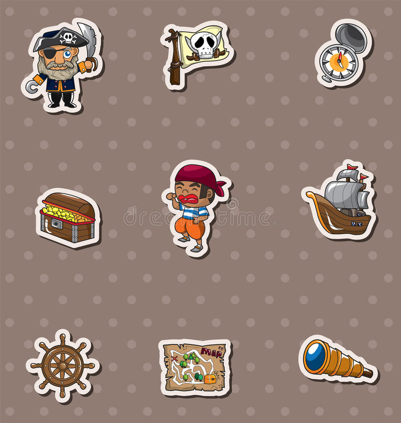 Pirate stickers vector illustration