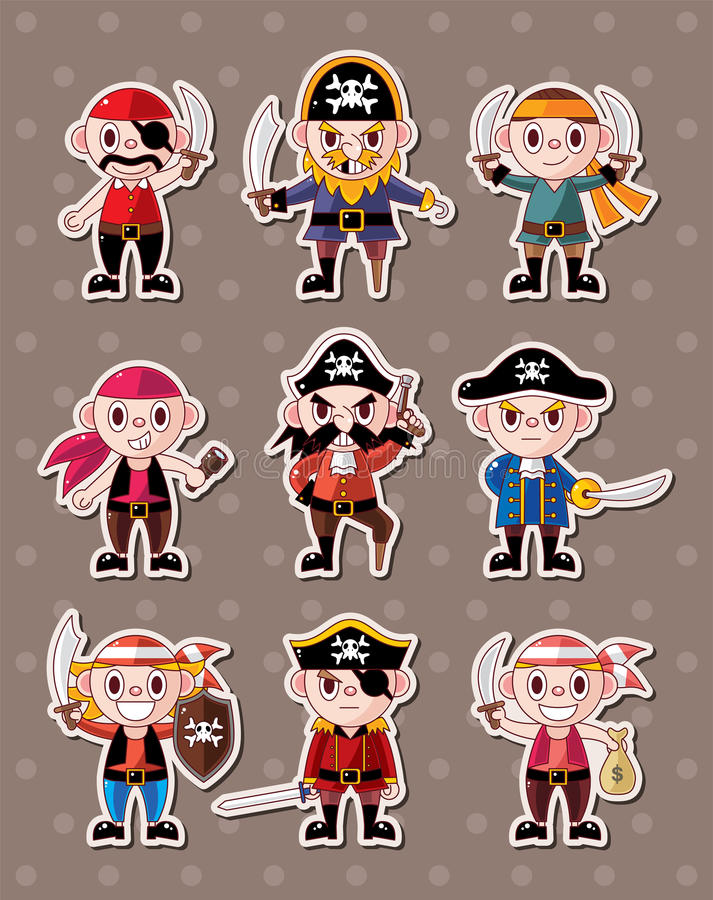 Download Pirate stickers stock vector. Image of isolated, character - 26696544