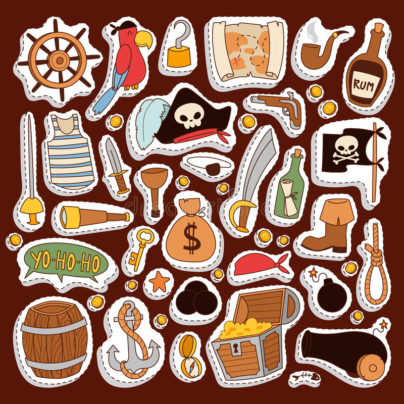 Pirate stickers icons vector collection adventure symbols stock illustration
