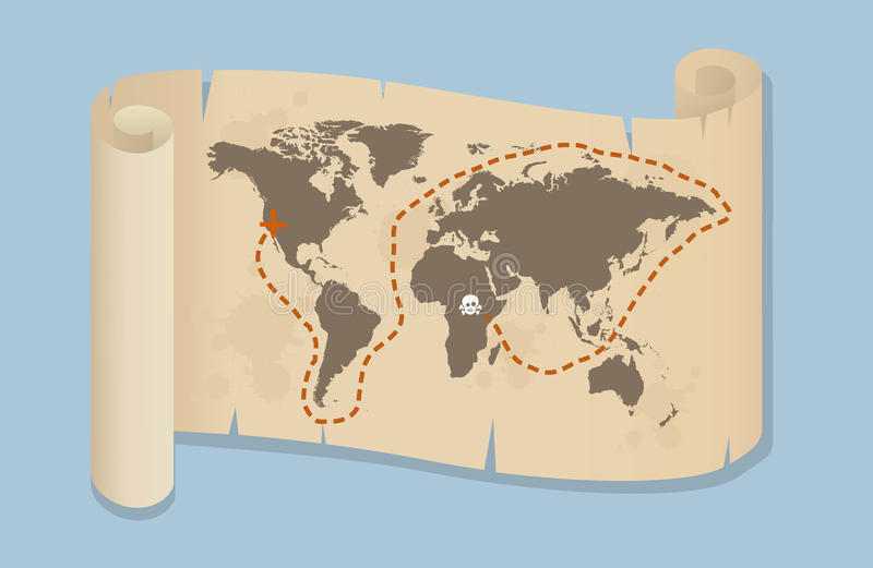 Pirate Style Map Of The World vector illustration